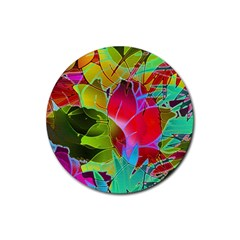 Floral Abstract 1 Rubber Coaster (round)  by MedusArt