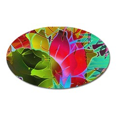 Floral Abstract 1 Oval Magnet by MedusArt