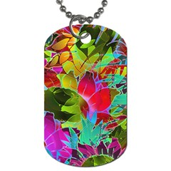 Floral Abstract 1 Dog Tag (one Side) by MedusArt