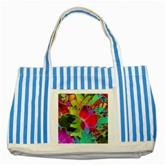 Floral Abstract 1 Striped Blue Tote Bag  by MedusArt