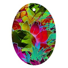 Floral Abstract 1 Oval Ornament (two Sides) by MedusArt