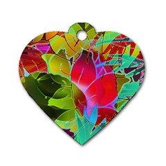 Floral Abstract 1 Dog Tag Heart (two Sides) by MedusArt