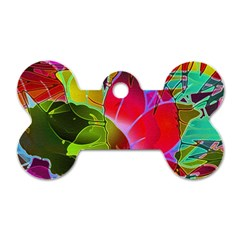 Floral Abstract 1 Dog Tag Bone (two Sides) by MedusArt