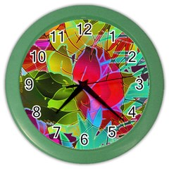 Floral Abstract 1 Color Wall Clocks by MedusArt