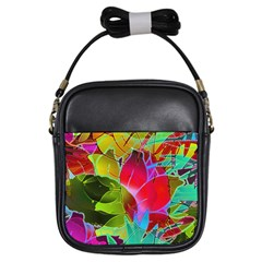 Floral Abstract 1 Girls Sling Bags by MedusArt