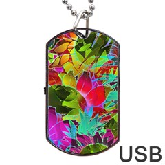 Floral Abstract 1 Dog Tag Usb Flash (one Side) by MedusArt