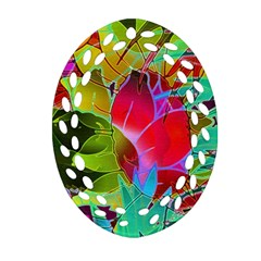 Floral Abstract 1 Oval Filigree Ornament (2 Side)  by MedusArt
