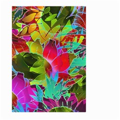 Floral Abstract 1 Large Garden Flag (two Sides) by MedusArt