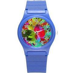 Floral Abstract 1 Round Plastic Sport Watch (s) by MedusArt