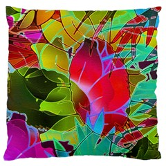 Floral Abstract 1 Large Cushion Cases (two Sides)  by MedusArt