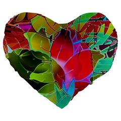 Floral Abstract 1 Large 19  Premium Heart Shape Cushions by MedusArt