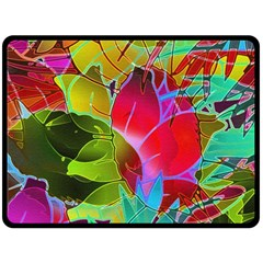 Floral Abstract 1 Double Sided Fleece Blanket (large)  by MedusArt