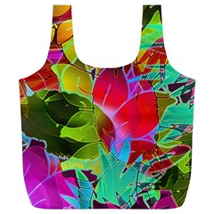 Floral Abstract 1 Full Print Recycle Bags (l)  by MedusArt