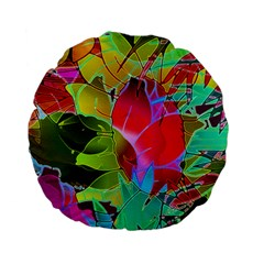 Floral Abstract 1 Standard 15  Premium Flano Round Cushions by MedusArt