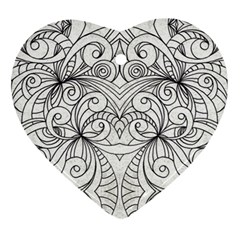 Drawing Floral Doodle 1 Ornament (heart)  by MedusArt