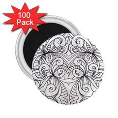Drawing Floral Doodle 1 2 25  Magnets (100 Pack)  by MedusArt