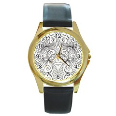 Drawing Floral Doodle 1 Round Gold Metal Watches by MedusArt