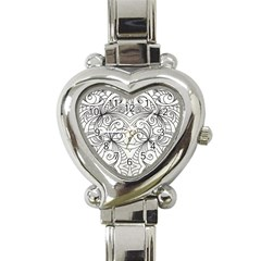 Drawing Floral Doodle 1 Heart Italian Charm Watch by MedusArt