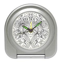 Drawing Floral Doodle 1 Travel Alarm Clocks by MedusArt