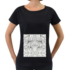Drawing Floral Doodle 1 Women s Loose-Fit T-Shirt (Black) by MedusArt