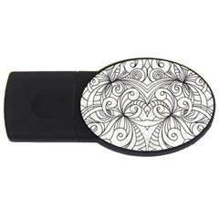 Drawing Floral Doodle 1 Usb Flash Drive Oval (4 Gb)  by MedusArt