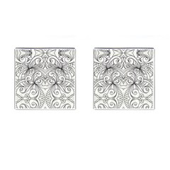 Drawing Floral Doodle 1 Cufflinks (square) by MedusArt