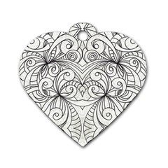 Drawing Floral Doodle 1 Dog Tag Heart (one Side) by MedusArt
