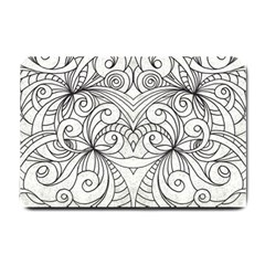 Drawing Floral Doodle 1 Small Doormat  by MedusArt