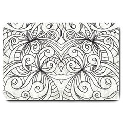 Drawing Floral Doodle 1 Large Doormat  by MedusArt