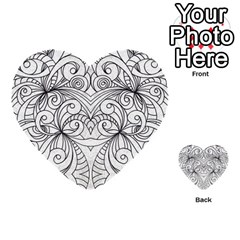 Drawing Floral Doodle 1 Multi Purpose Cards (heart)  by MedusArt
