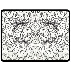 Drawing Floral Doodle 1 Fleece Blanket (large)  by MedusArt