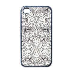Drawing Floral Doodle 1 Apple Iphone 4 Case (black) by MedusArt