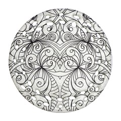 Drawing Floral Doodle 1 Ornament (round Filigree)  by MedusArt