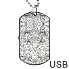 Drawing Floral Doodle 1 Dog Tag Usb Flash (one Side) by MedusArt
