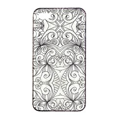Drawing Floral Doodle 1 Apple Iphone 4/4s Seamless Case (black) by MedusArt