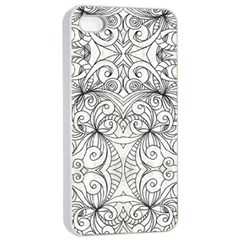 Drawing Floral Doodle 1 Apple Iphone 4/4s Seamless Case (white) by MedusArt