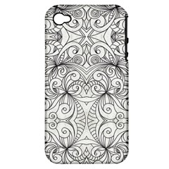 Drawing Floral Doodle 1 Apple Iphone 4/4s Hardshell Case (pc+silicone) by MedusArt