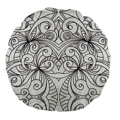 Drawing Floral Doodle 1 Large 18  Premium Round Cushions by MedusArt