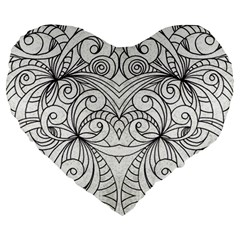 Drawing Floral Doodle 1 Large 19  Premium Heart Shape Cushions by MedusArt