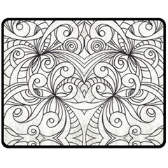 Drawing Floral Doodle 1 Double Sided Fleece Blanket (medium)  by MedusArt