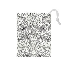 Drawing Floral Doodle 1 Drawstring Pouches (medium)  by MedusArt