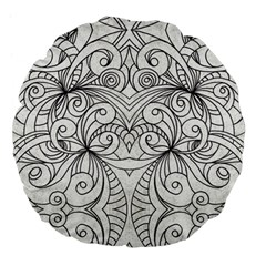 Drawing Floral Doodle 1 Large 18  Premium Flano Round Cushions by MedusArt