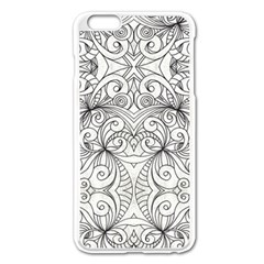 Drawing Floral Doodle 1 Apple Iphone 6 Plus/6s Plus Enamel White Case by MedusArt