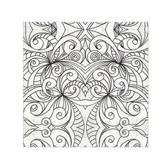 Drawing Floral Doodle 1 Small Satin Scarf (square)  by MedusArt