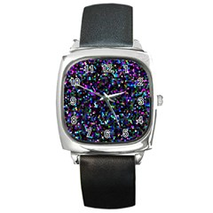 Glitter 1 Square Metal Watches by MedusArt