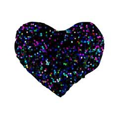Glitter 1 Standard 16  Premium Flano Heart Shape Cushions by MedusArt