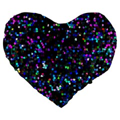 Glitter 1 Large 19  Premium Flano Heart Shape Cushions by MedusArt