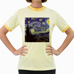 Van Gogh Starry Night Women s Fitted Ringer T-Shirts by MasterpiecesOfArt
