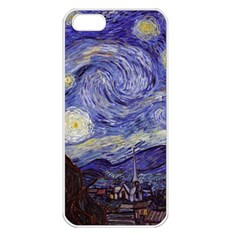 Van Gogh Starry Night Apple Iphone 5 Seamless Case (white) by MasterpiecesOfArt