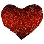 Glitter 3 Large 19  Premium Flano Heart Shape Cushions Back